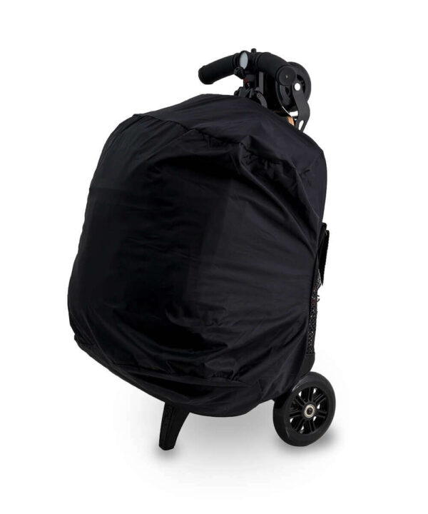 rolljet raincover on bag and scooter