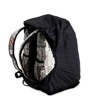 back view of rulljet bag with raincover
