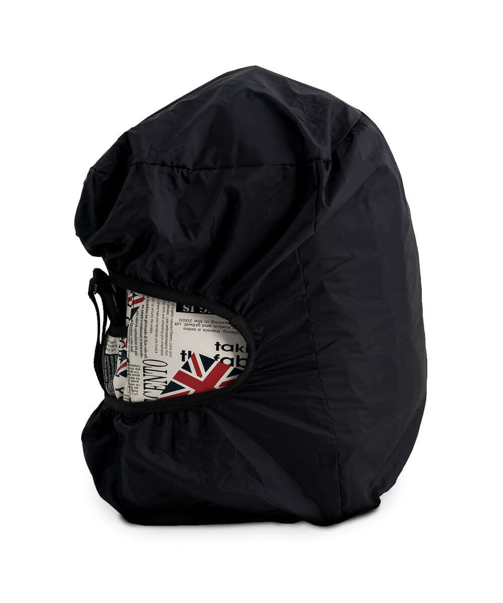 side view of rolljet bag with raincover
